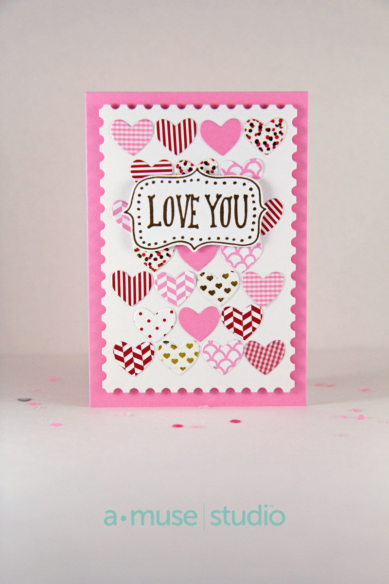 A Muse Studio Love You hearts with washi tapes card only